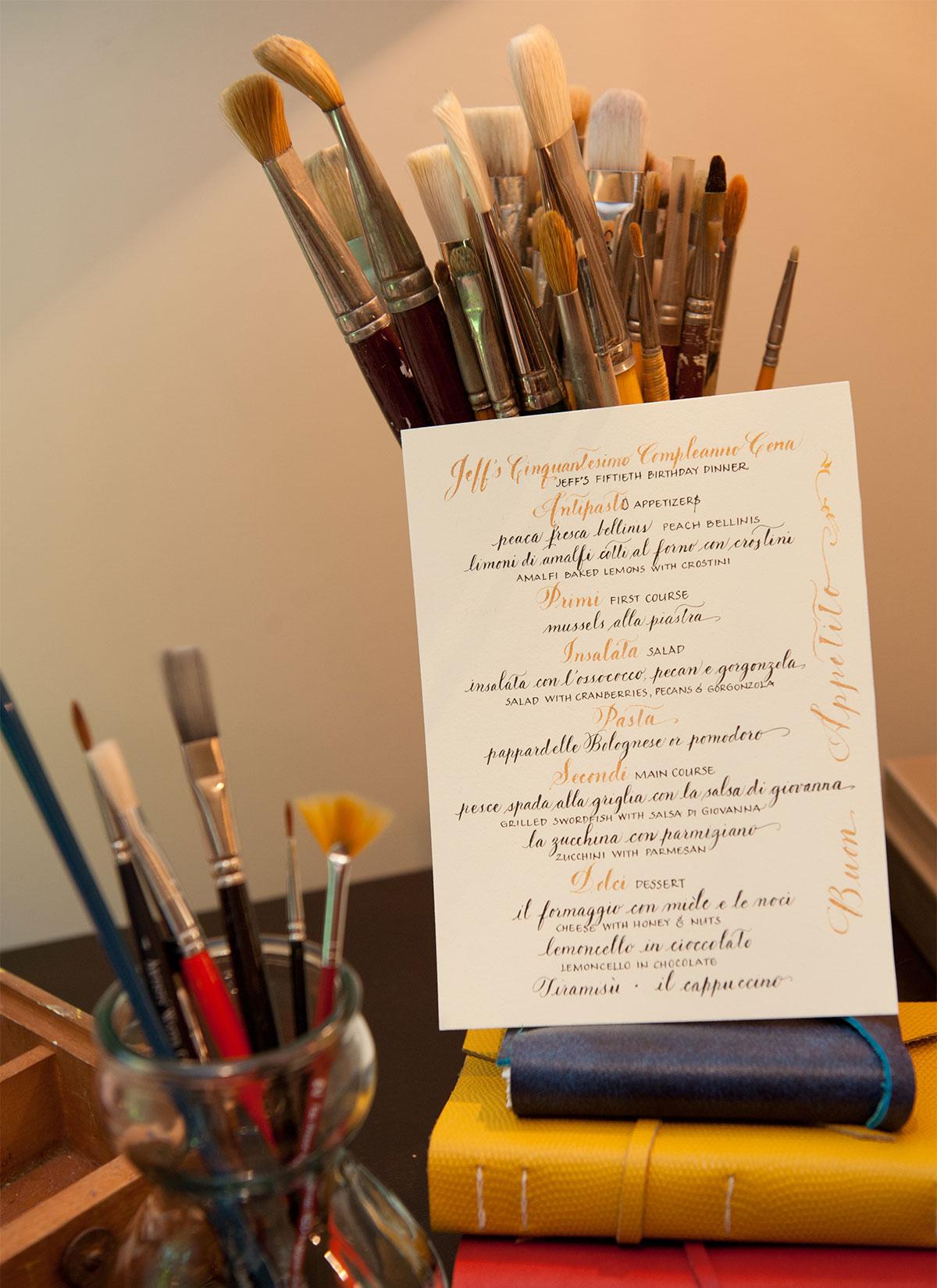 Jan Boyd Calligraphy - Menu